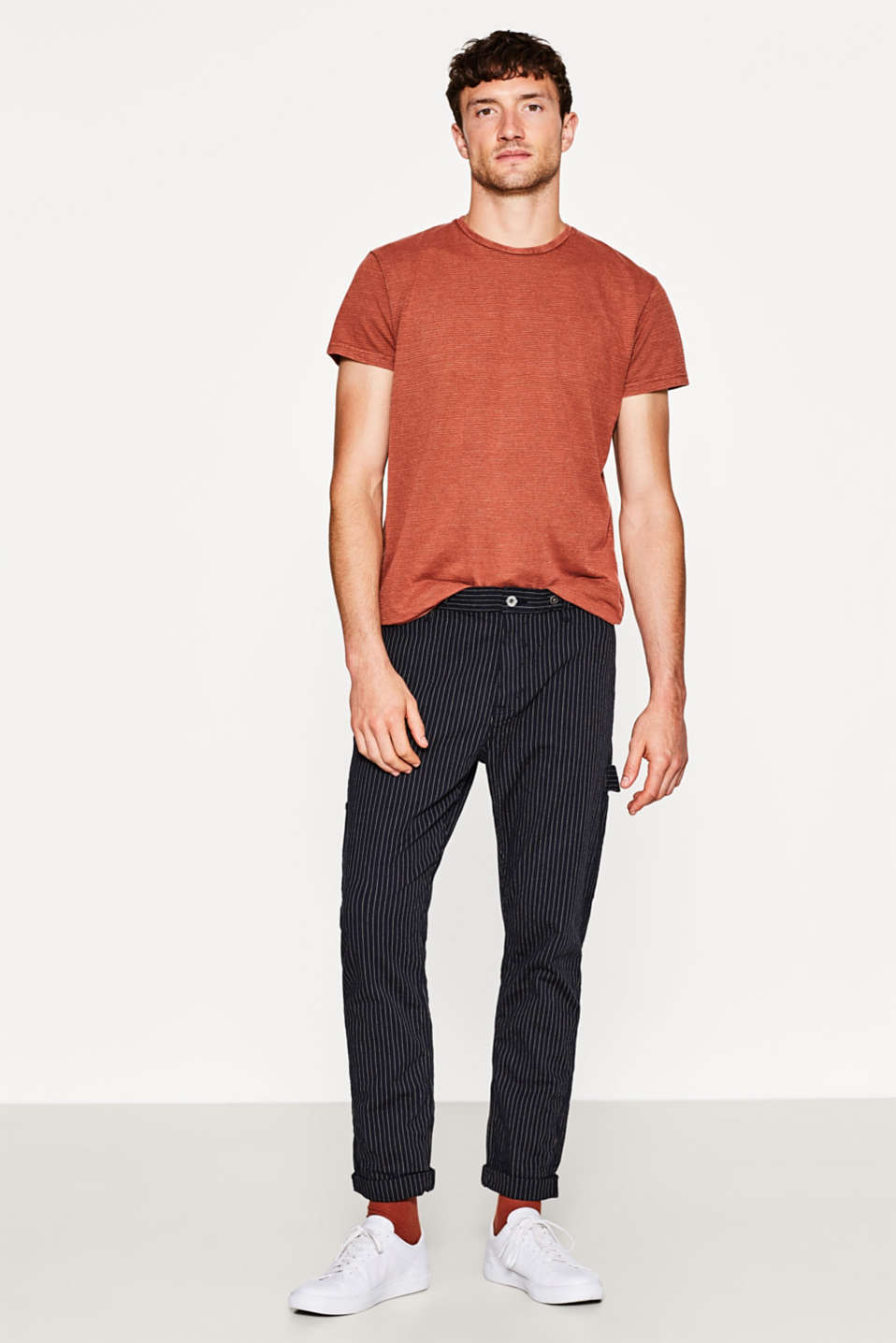 Esprit - Stretch trousers with herringbone texture