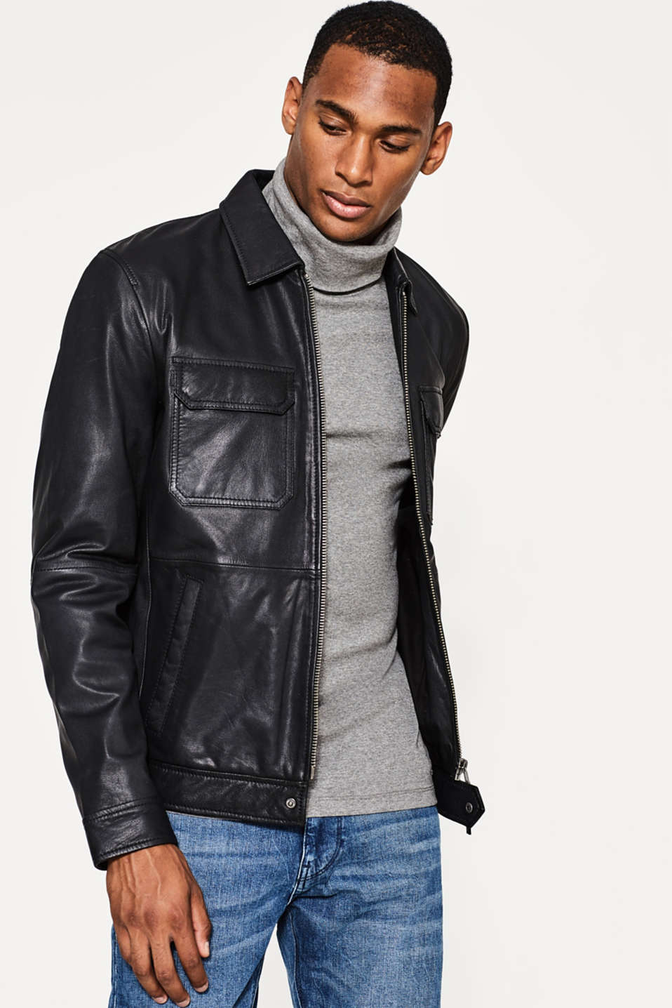 Esprit - Sporty bomber jacket in kid leather