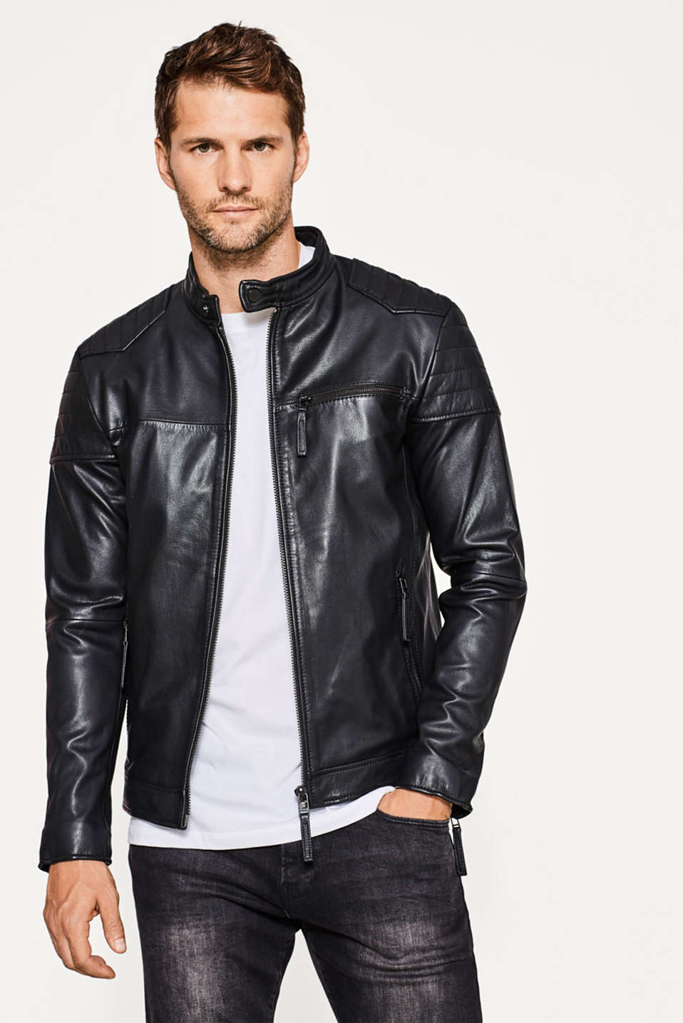 Esprit - Leather biker jacket in kid leather