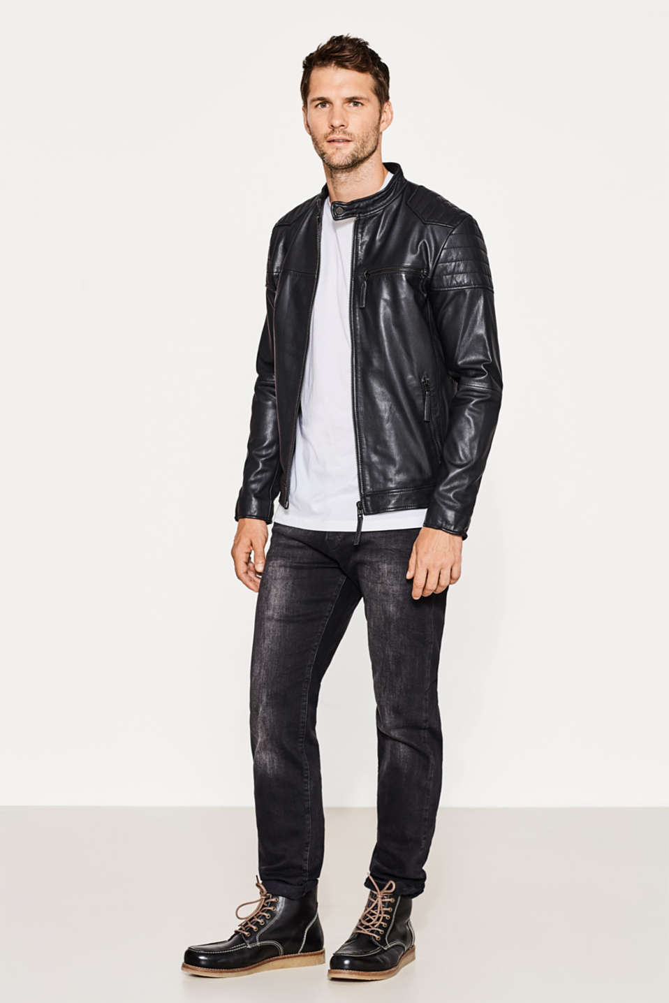 Leather biker jacket in kid leather