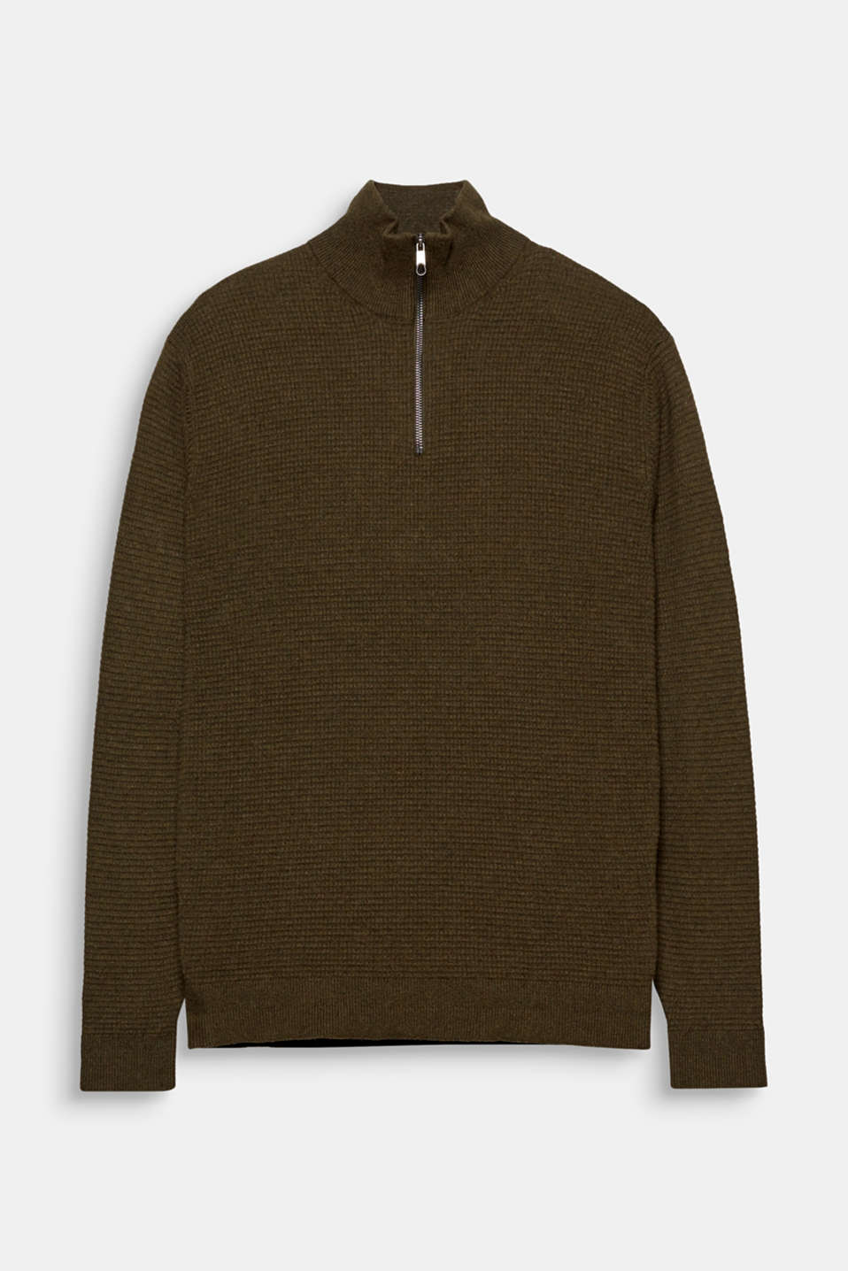 Feels wonderful against the skin: fine cashmere makes this textured jumper with a zip collar a favourite piece!