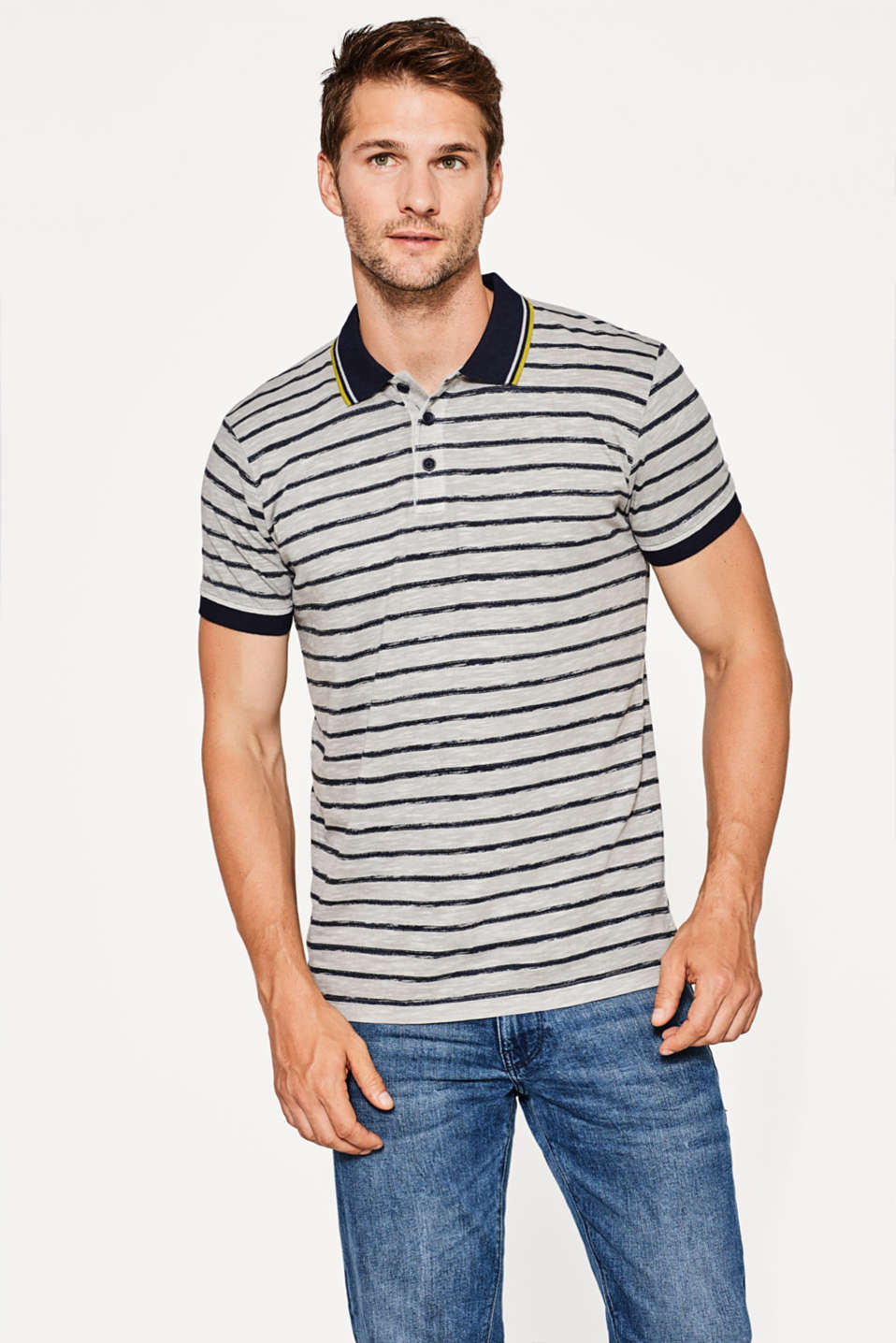 Esprit - Slub jersey polo shirt in 100% cotton