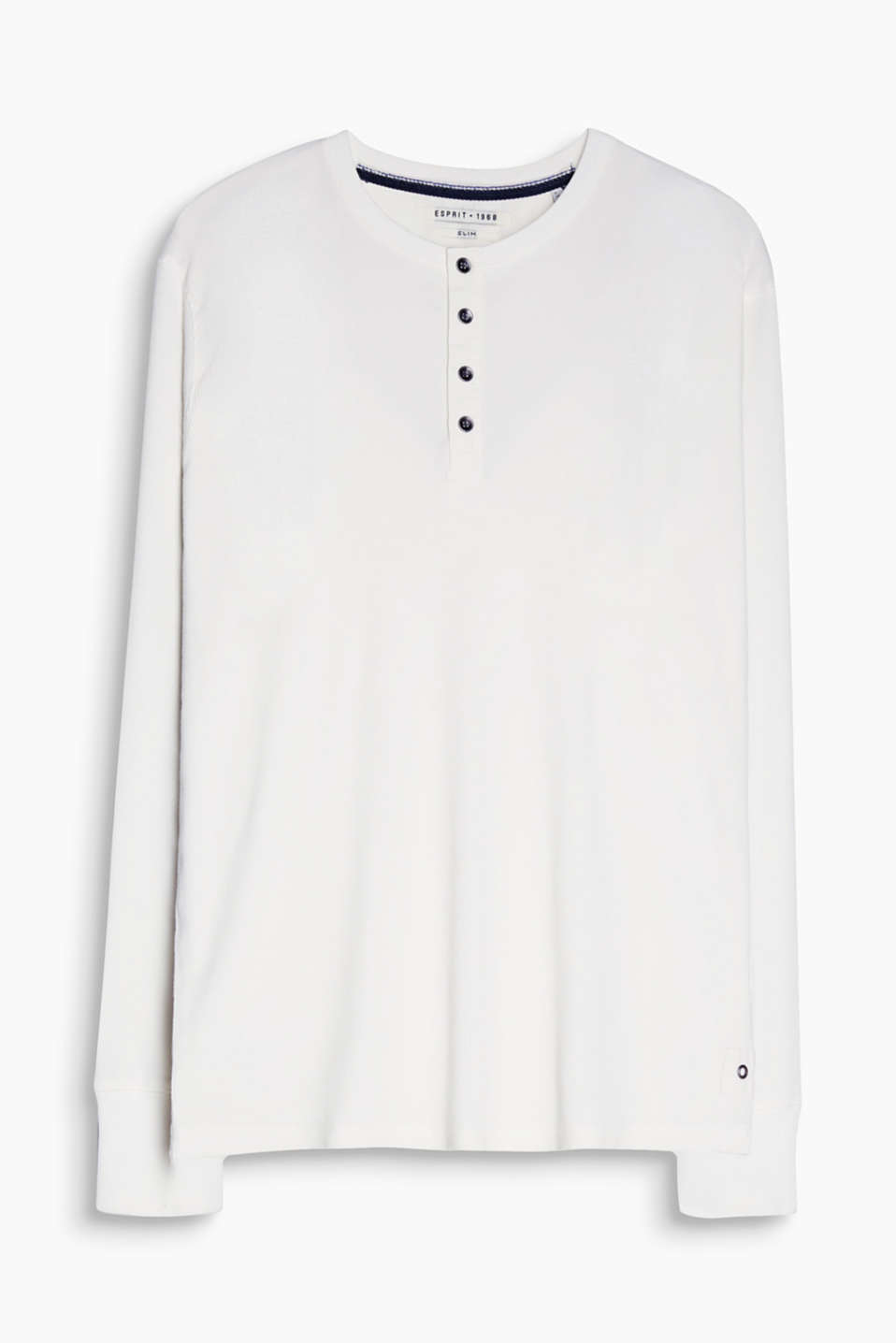 Long sleeve top in a Henley style made from 100% cotton with a striped texture and cuffs at the sleeve ends