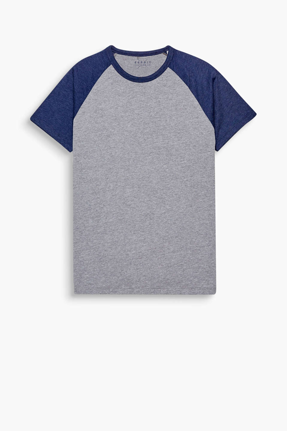 The perfect styling partner for your denim look: T-shirt with a round neckline and raglan sleeves in a college style