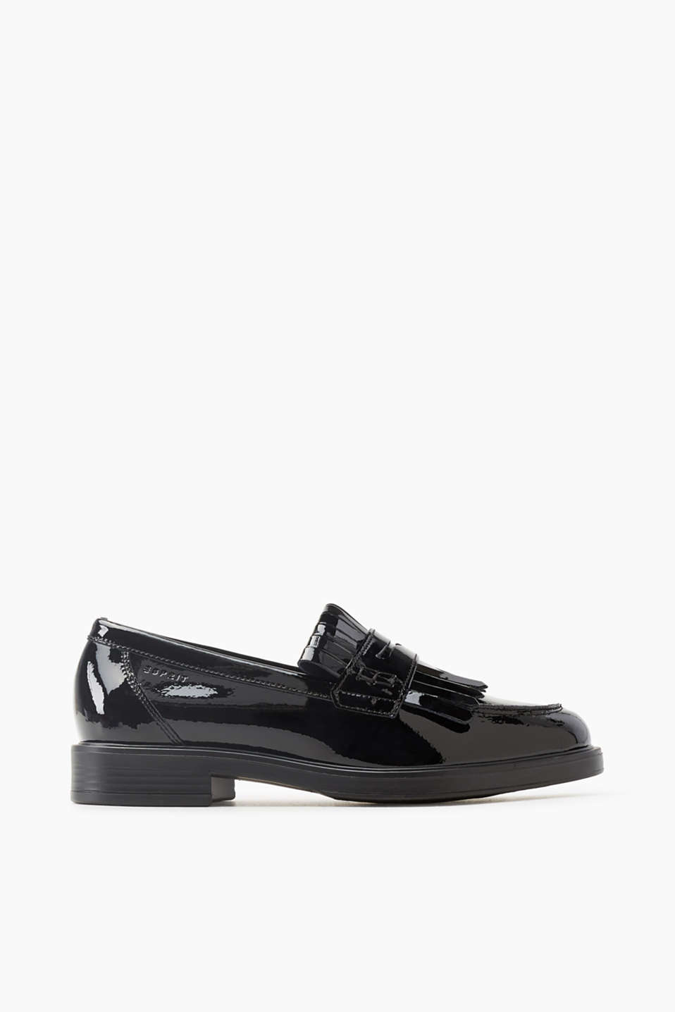 An it piece with classic details! These patent leather loafers impress with bold front fringe.