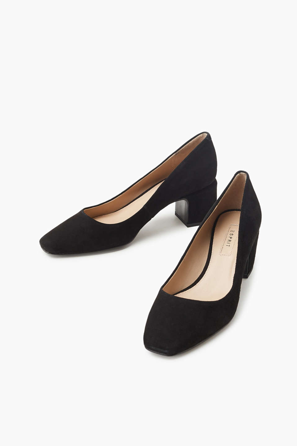 Kid leather court shoes with a block heel