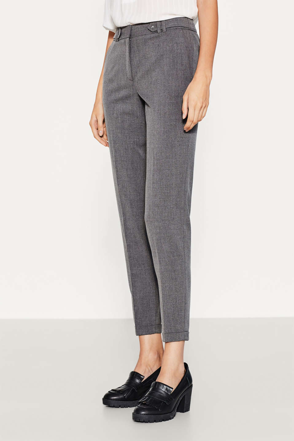 Esprit - Pantalon stretch raccourci à brides