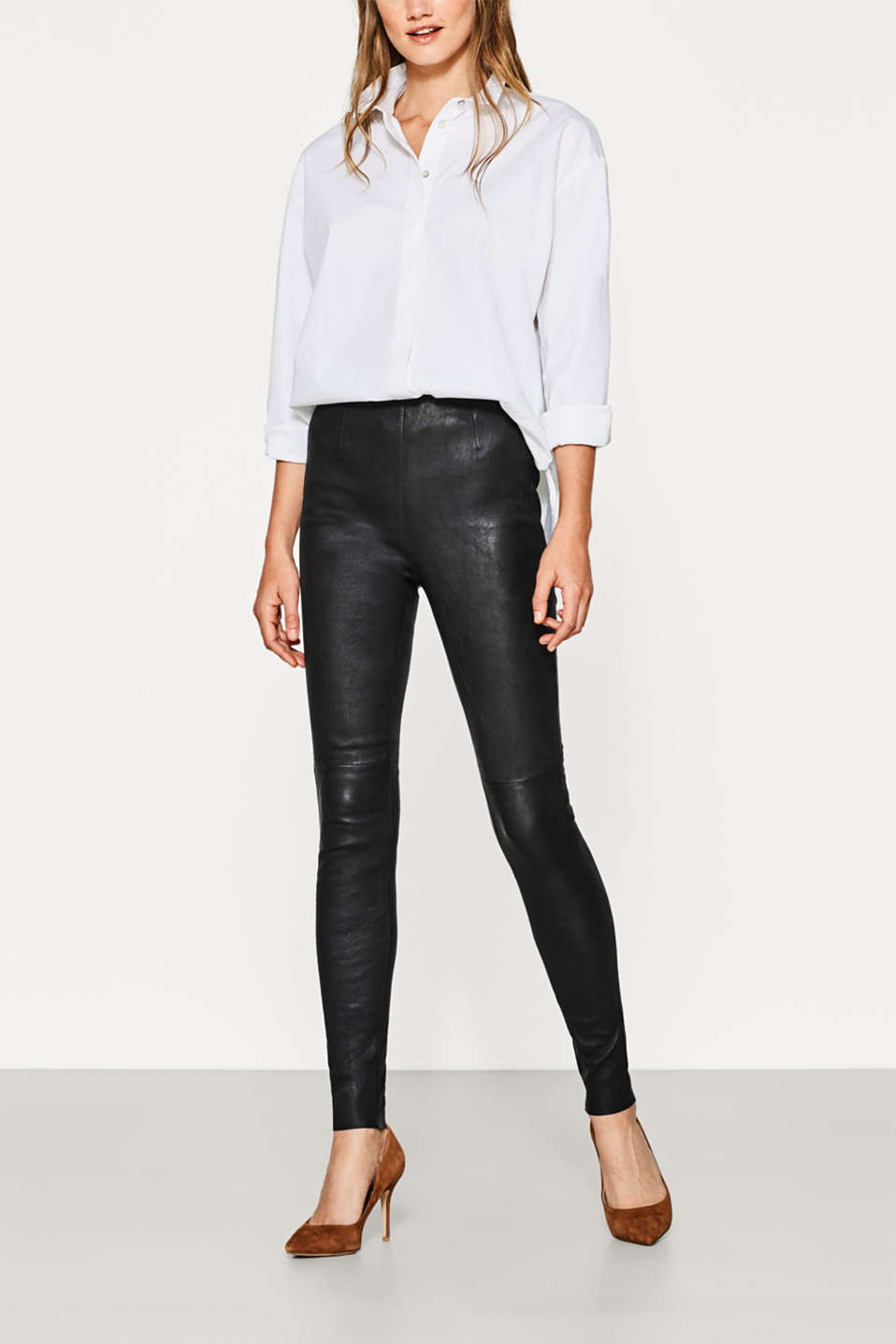 Esprit - Lamb leather leggings