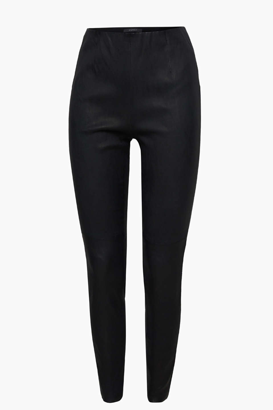 First-class fashion fave: exquisite lamb leather leggings with an elasticated waistband and unfinished hems