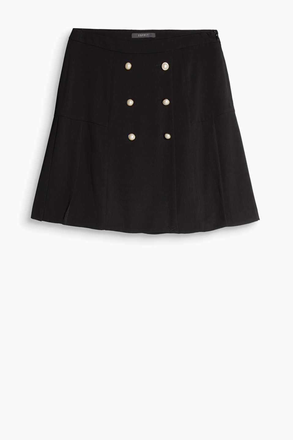 Fantastically feminine, military look: flowing crêpe skirt with a double row button placket and pleated hem