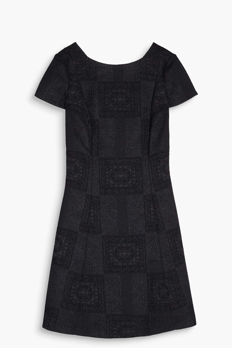 Dream team - jacquard and jersey: fitted dress made of compact stretch jersey with a swirling skirt