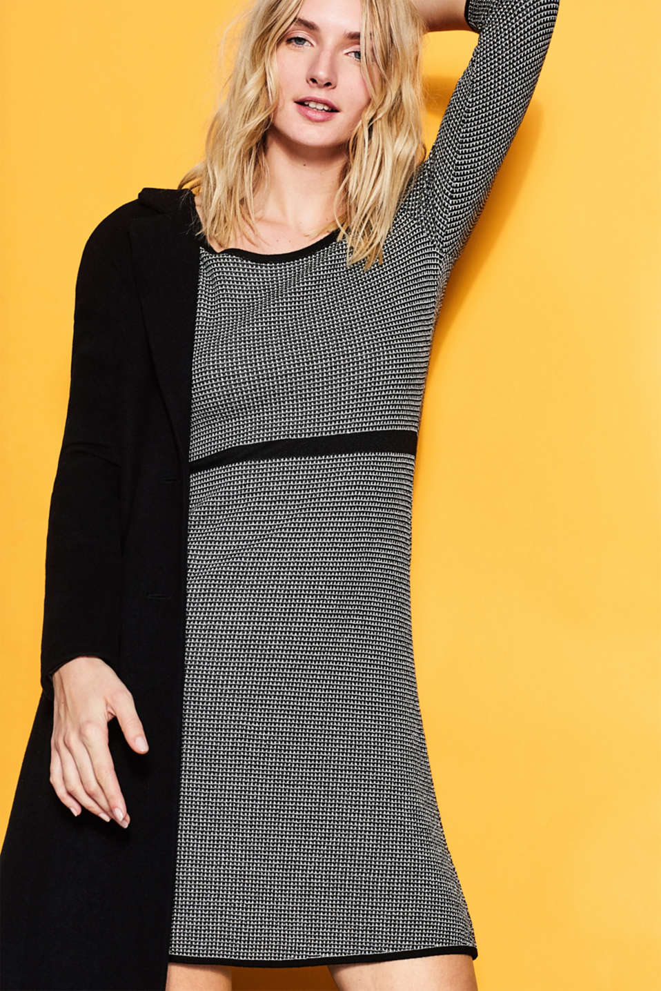 Knit dress with a textured pattern