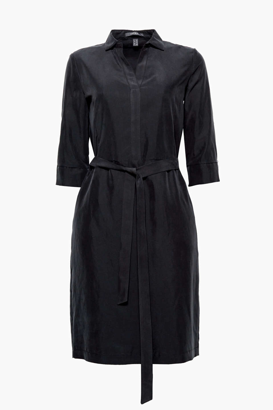 For the office or the city, this soft shirt blouse dress with a tie-around belt works for so many occasions!