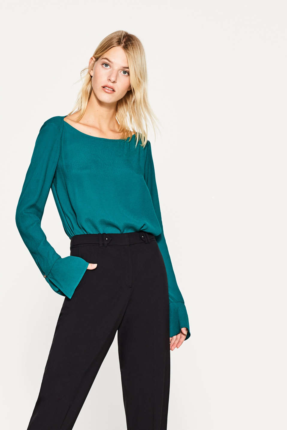 Esprit - Floaty, textured blouse with flounce sleeves
