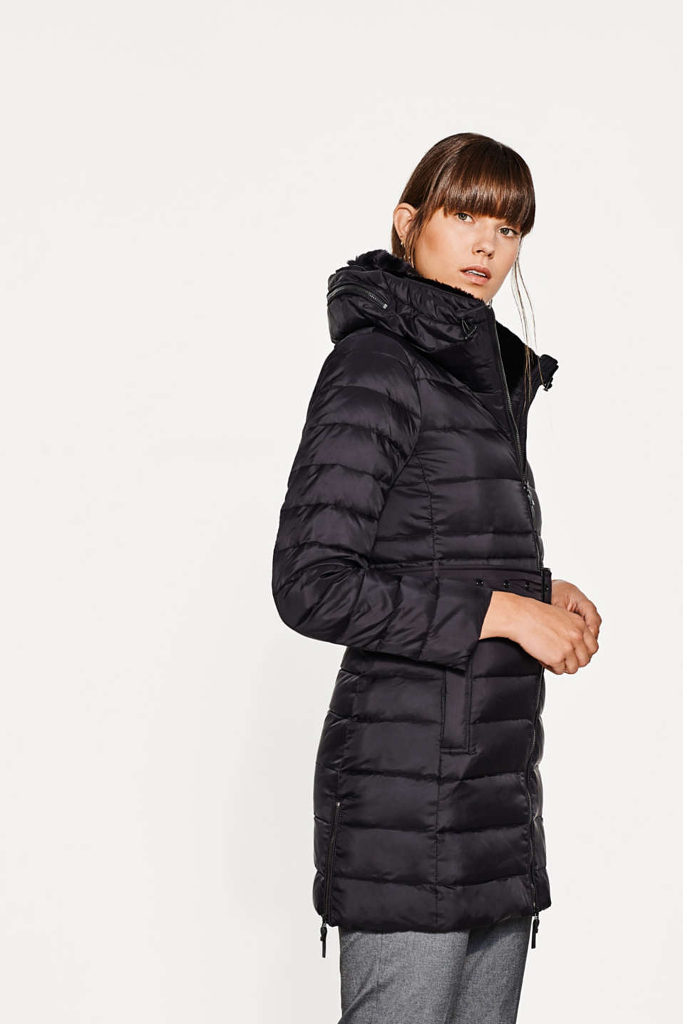 Esprit - Down coat with a fake fur collar
