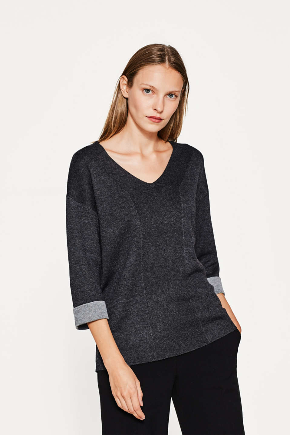 Esprit - Casual doubleface-pullover med uld