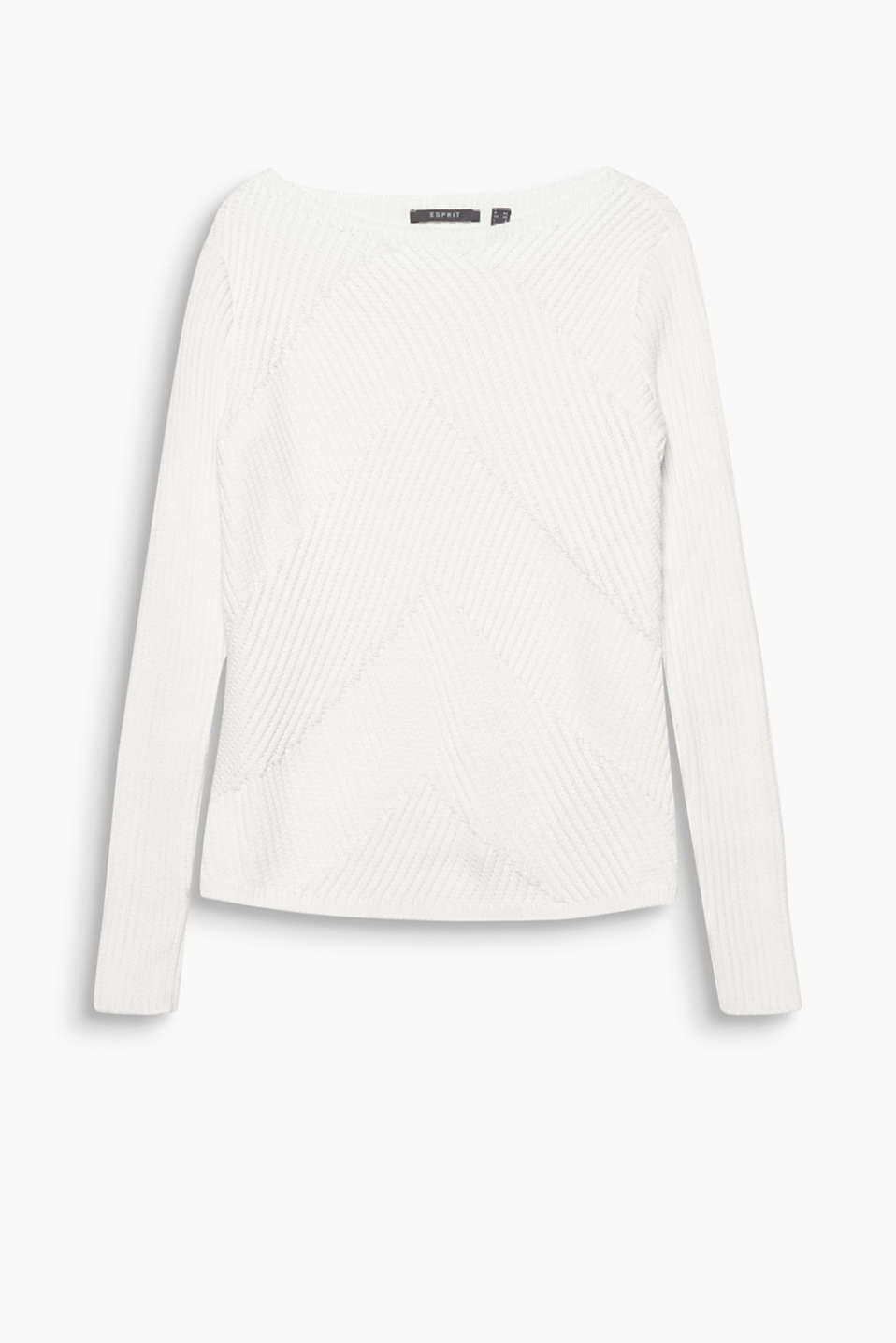 Gets to the point: modern, chunky knit jumper in blended cotton with a zigzag texture