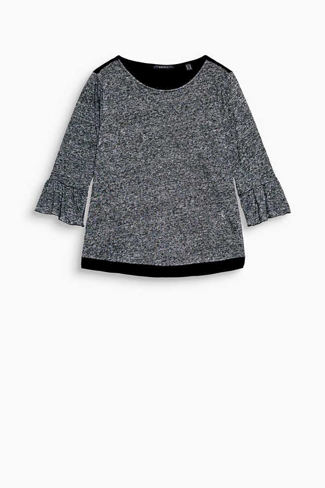 T-shirt chiné en mélange de matières