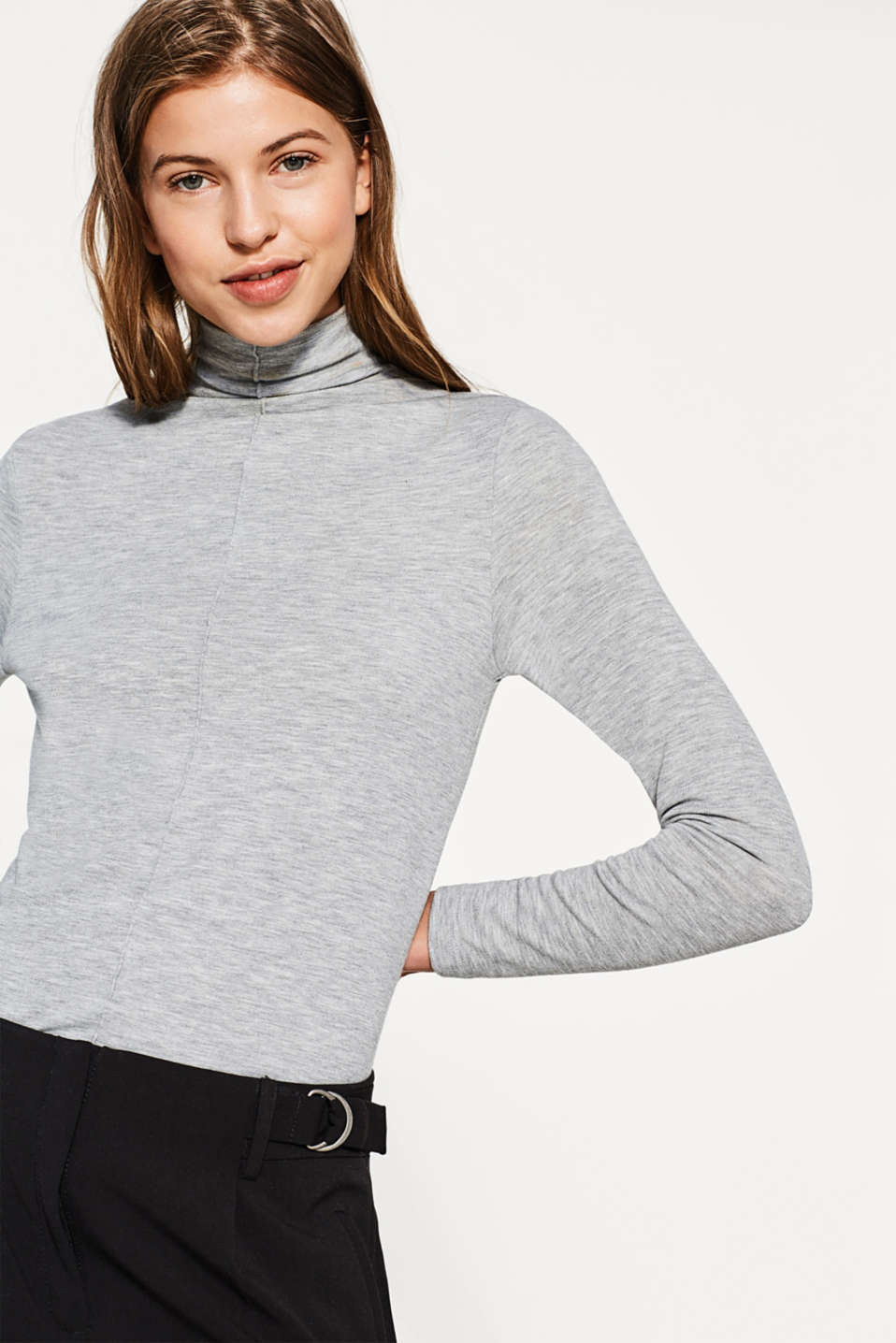 Esprit - Soft stretch long sleeve top, stand-up collar