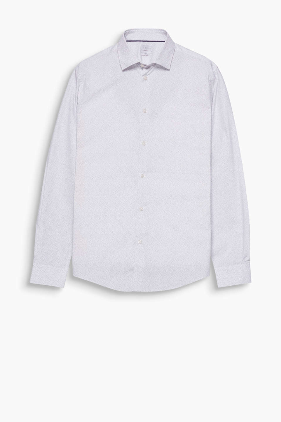 Classic Kent collar and a subtle, minimalist print featuring twig motifs: pure cotton shirt