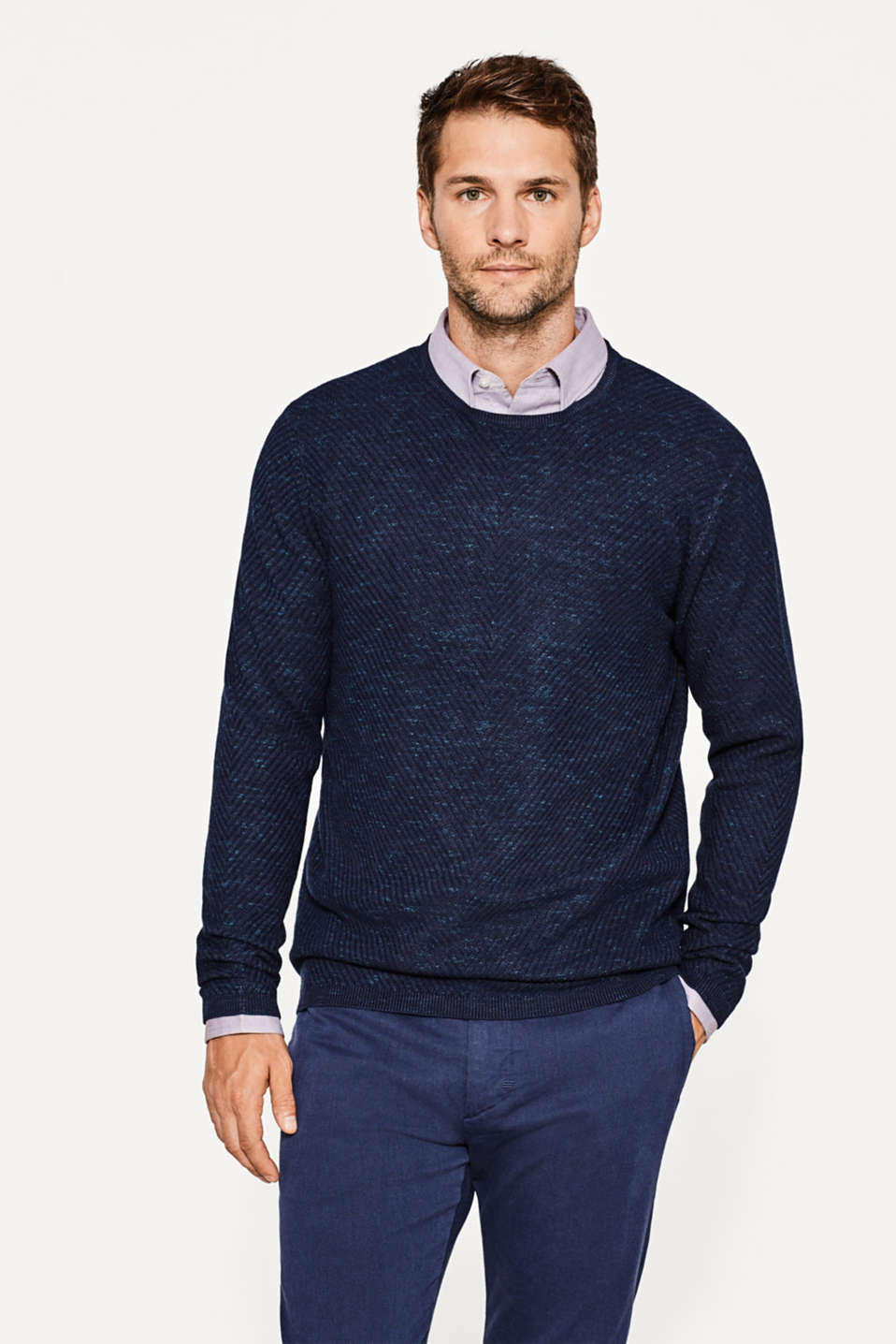 Esprit - Melange crewneck jumper with texture