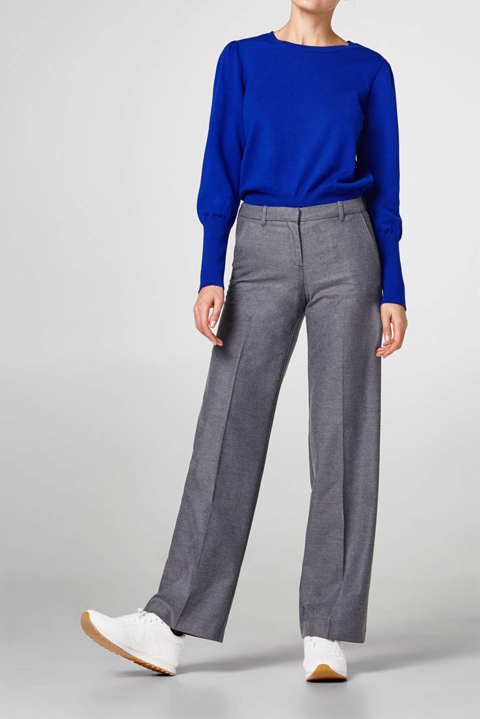 Esprit - Wide flannel trousers with stretch
