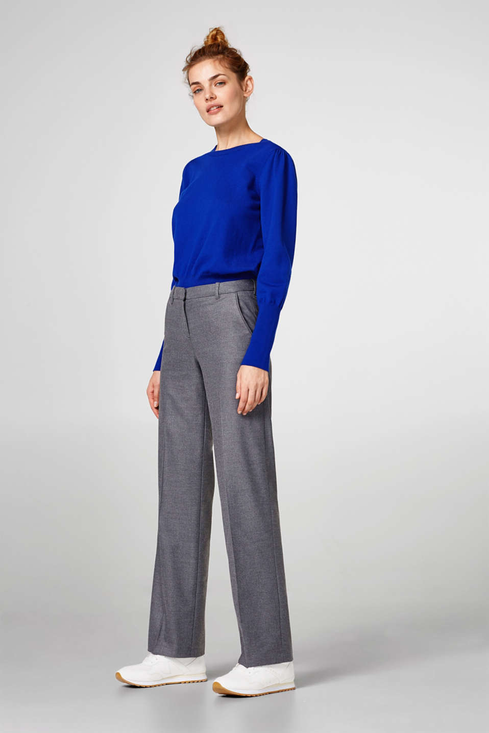 Wide flannel trousers with stretch