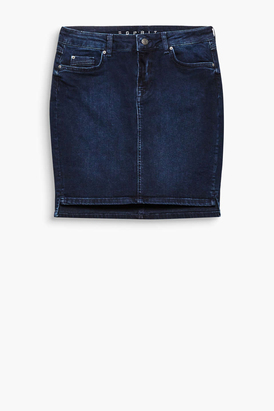 So versatile and feminine: dark blue denim skirt in a classic five-pocket design.