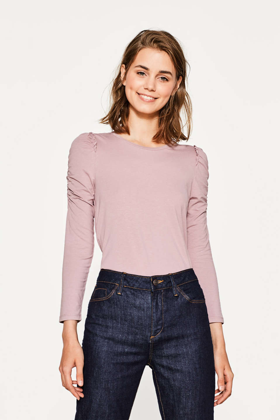 Esprit - Stretch top with gathered sleeves