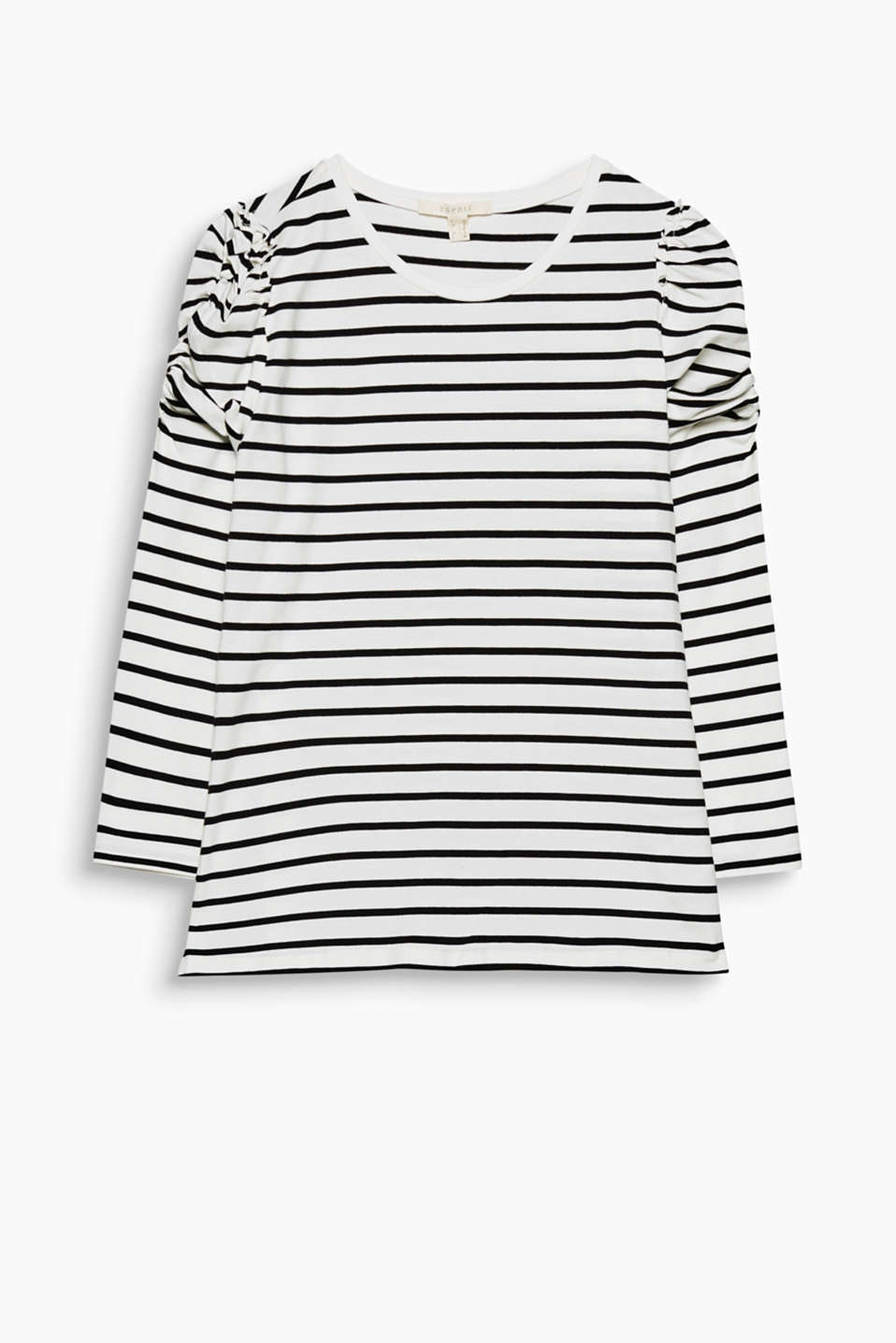 Striped and gathered: this long sleeve top is not short on fashion details... and is particularly soft against the skin