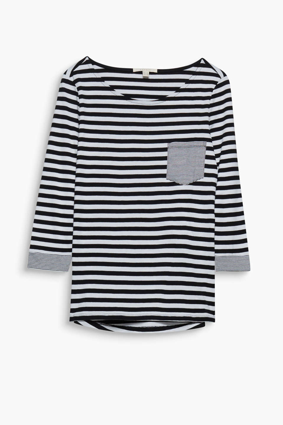 Contrasting fine stripes on the breast pocket and sleeve cuffs give this top a new trend look