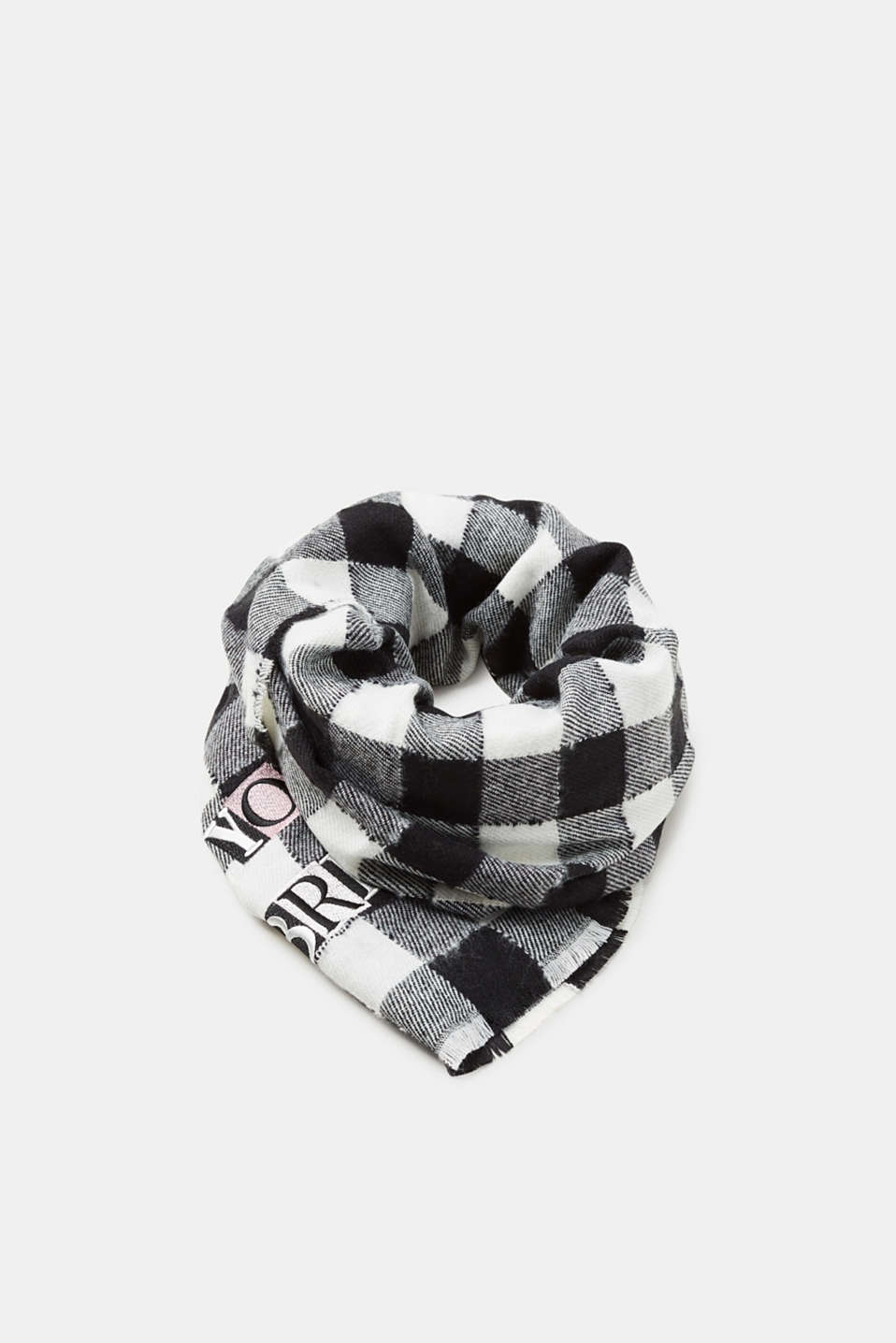 edc - Woven scarf with checks and a statement