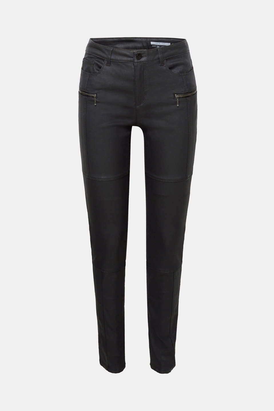 These coated slim fit trousers with stretch for comfort and decorative biker-style zips create a very cool look!