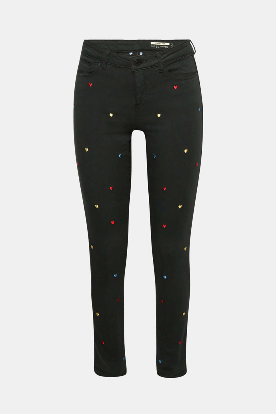 These skinny trousers in soft tracksuits fabric with five pockets fit the figure beautifully, are super comfy and feature colourful, embroidered hearts!