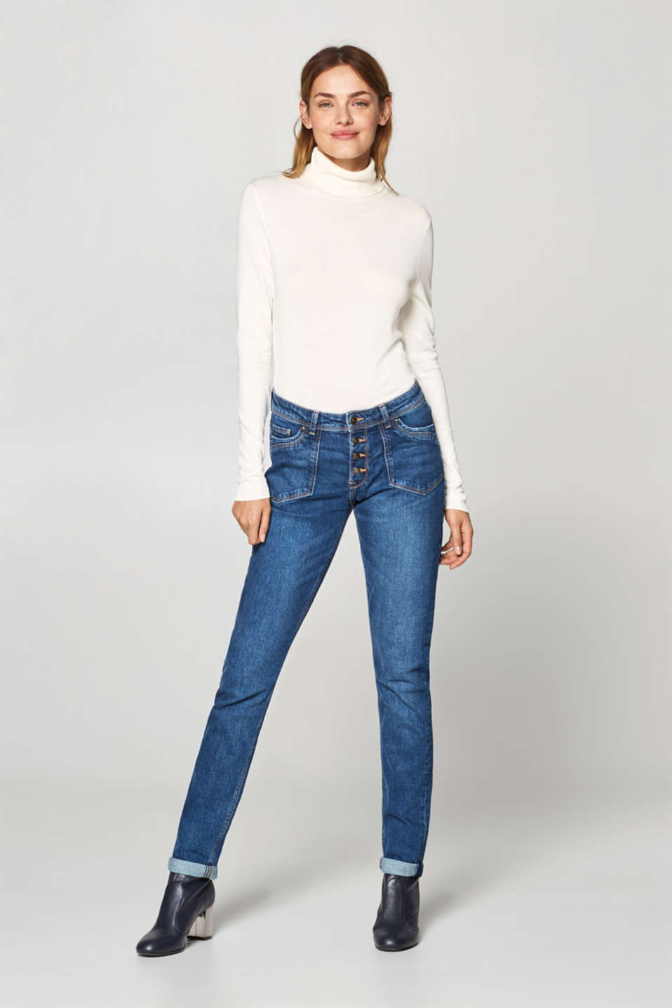 edc - Stretch jeans with decorative seams
