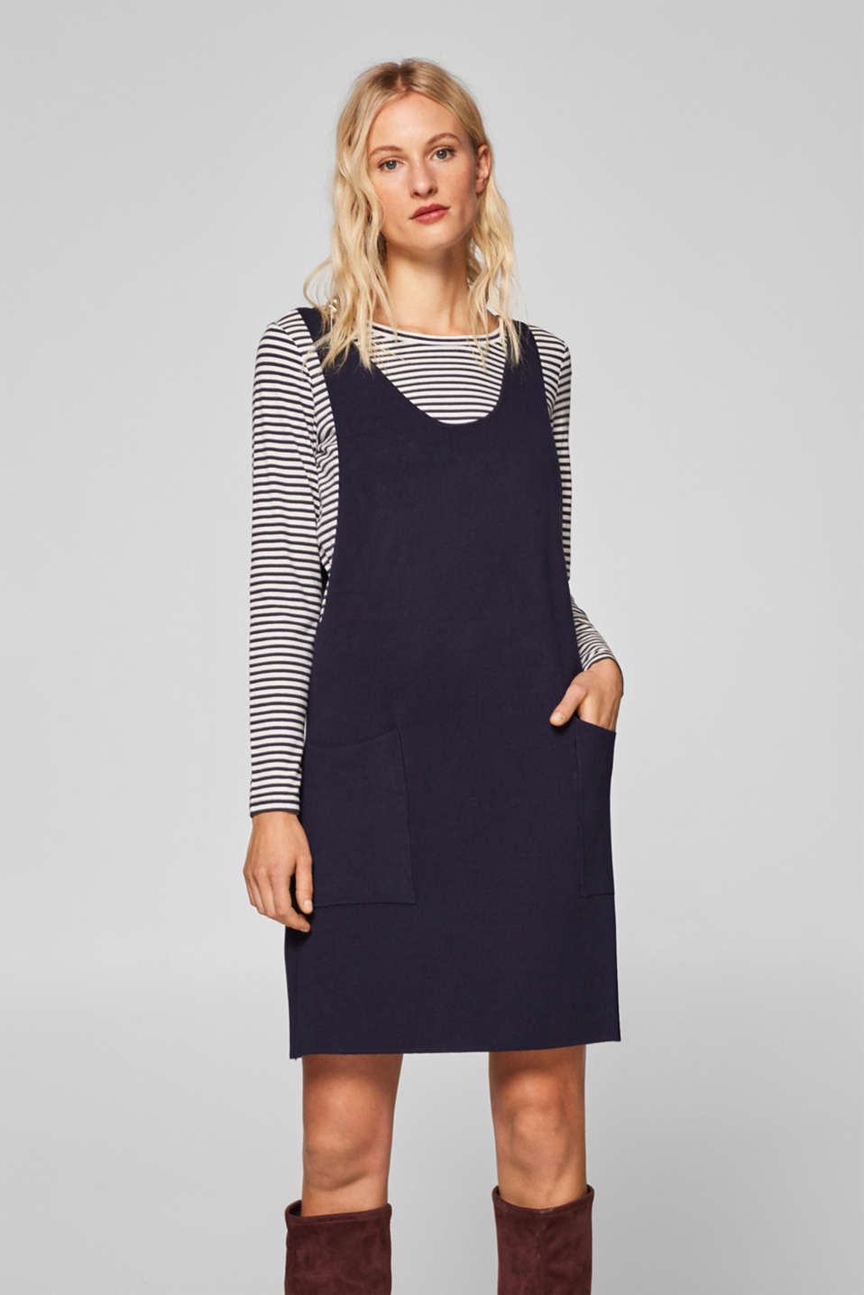 edc - 2-in-1 dress with a striped long sleeve top