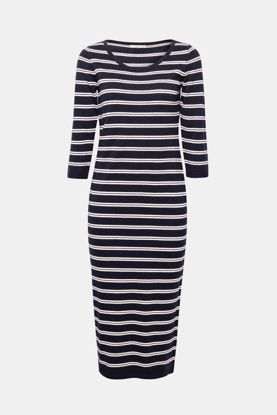 Casual, modern and super feminine at the same time! This dress in a fashionable midi length impresses with its fresh striped design and clean, slim silhouette.