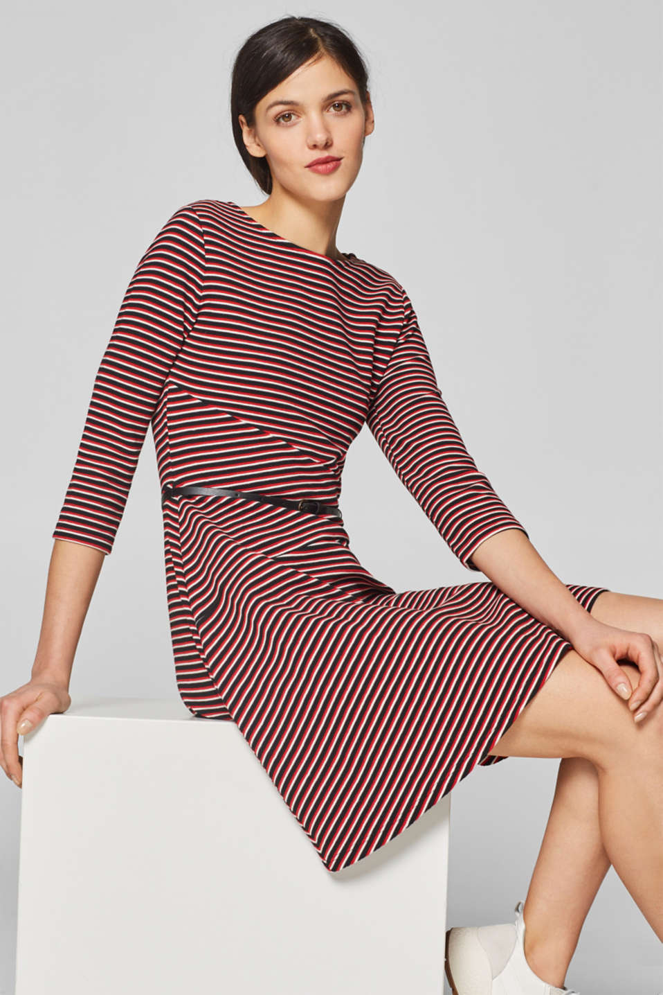 edc - Stretch jersey dress with stripes and belt