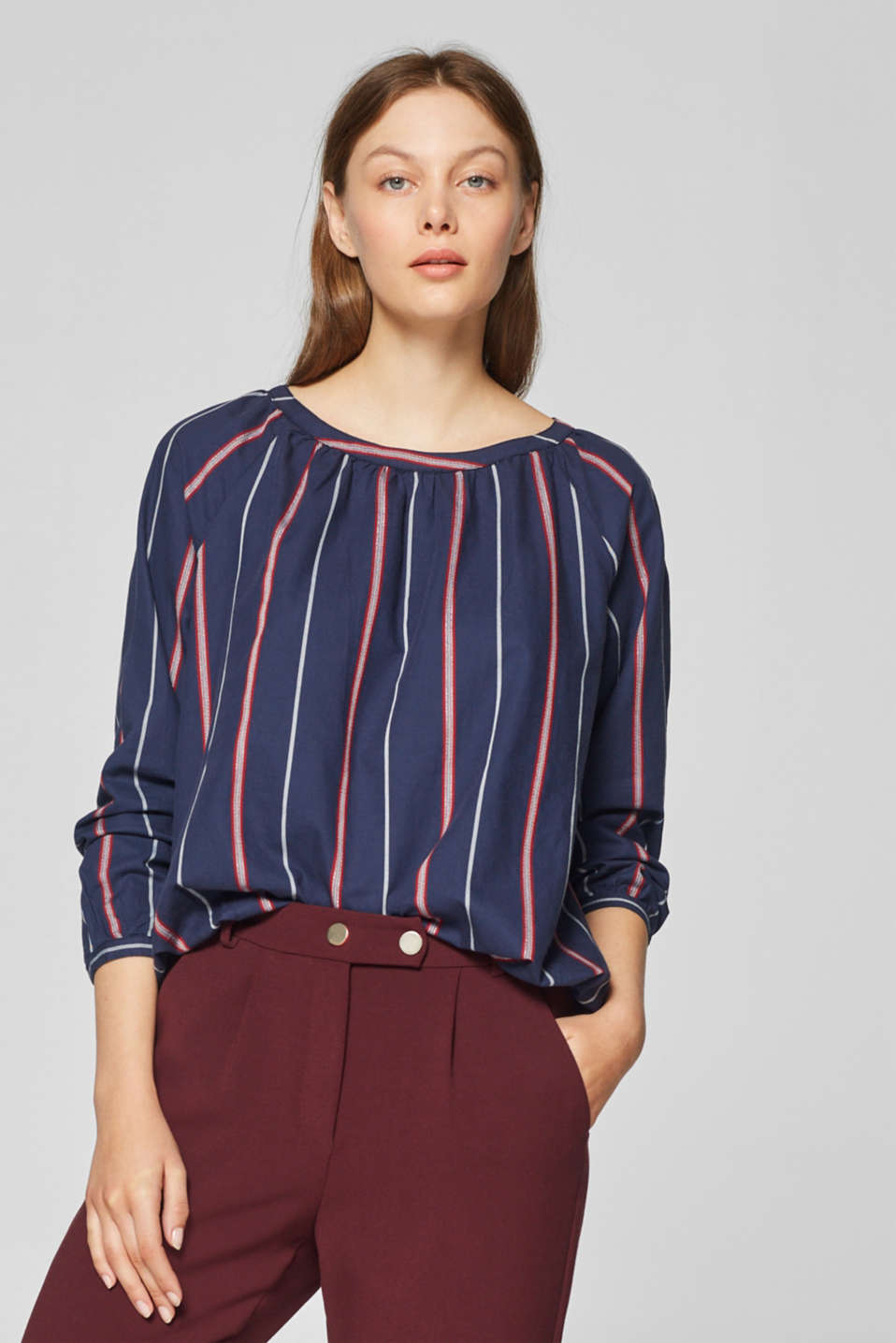 edc - Elasticated blouse with glittering stripes