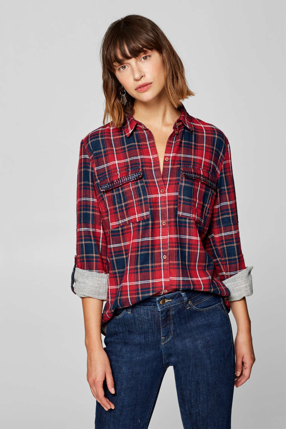 edc - Sequinned check shirt, 100% cotton