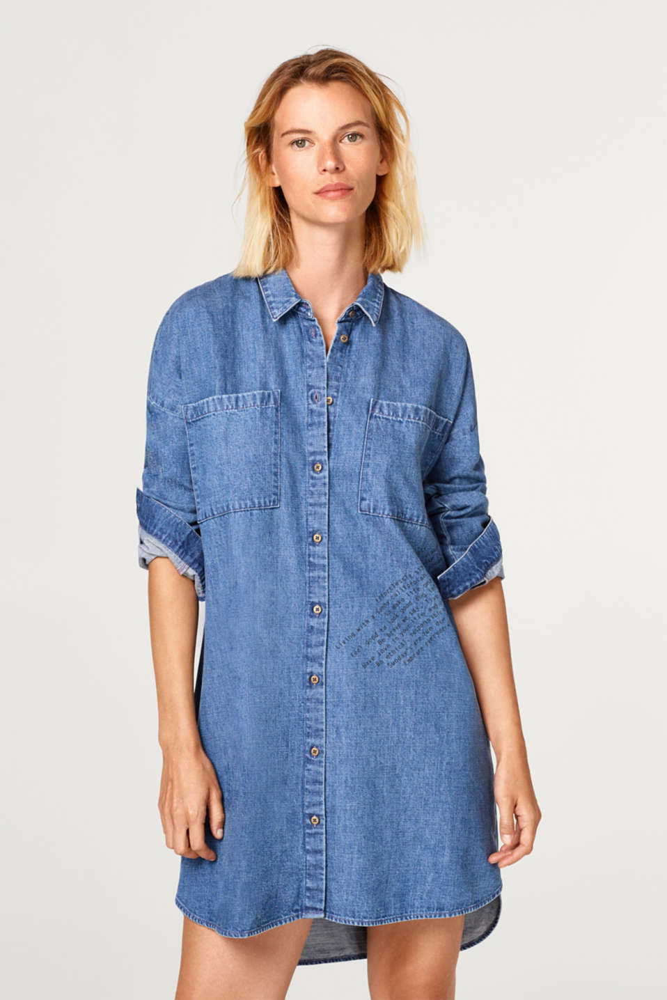 edc - Denim dress with a printed statement, 100% cotton