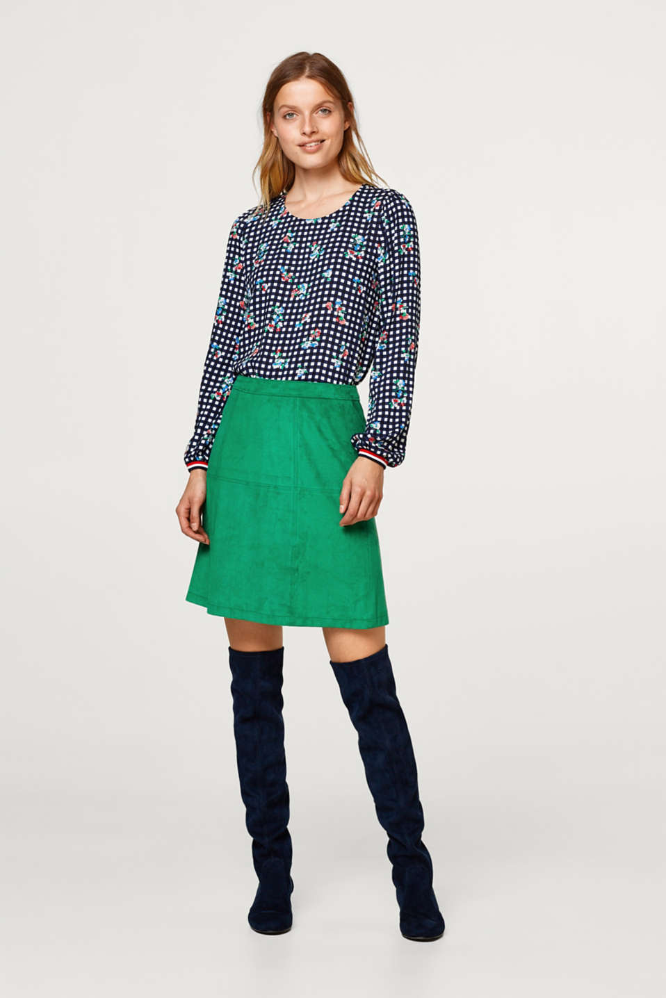 Printed blouse with ribbed cuffs and waistband