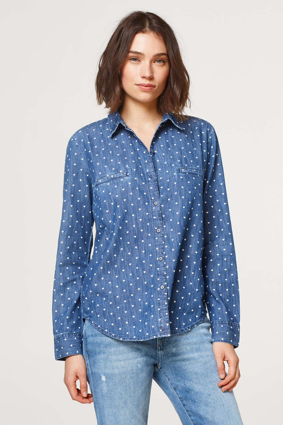 edc - Denim shirt with heart pattern
