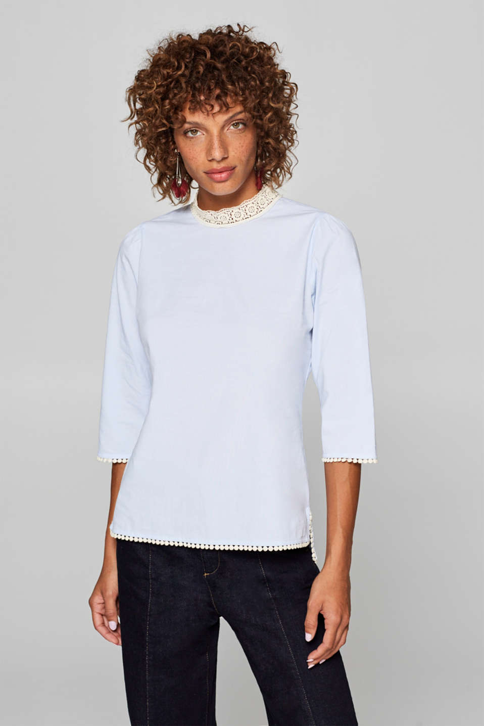 edc - Stretch cotton blouse with crocheted details