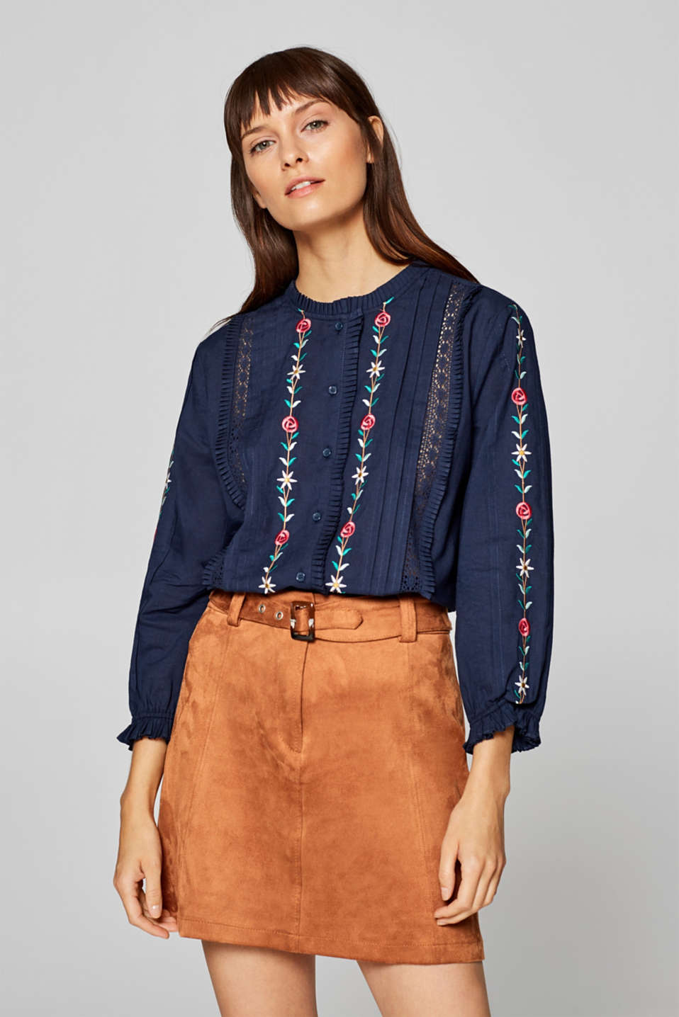 edc - Blouse in a pretty look, 100% cotton