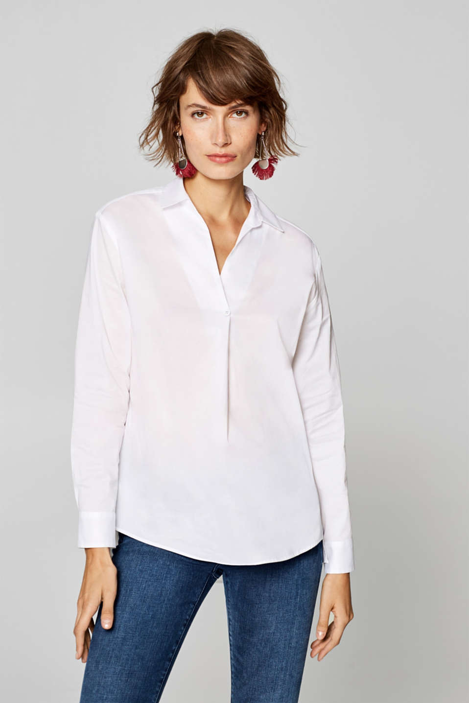 edc - Modern shirt blouse made of stretch cotton