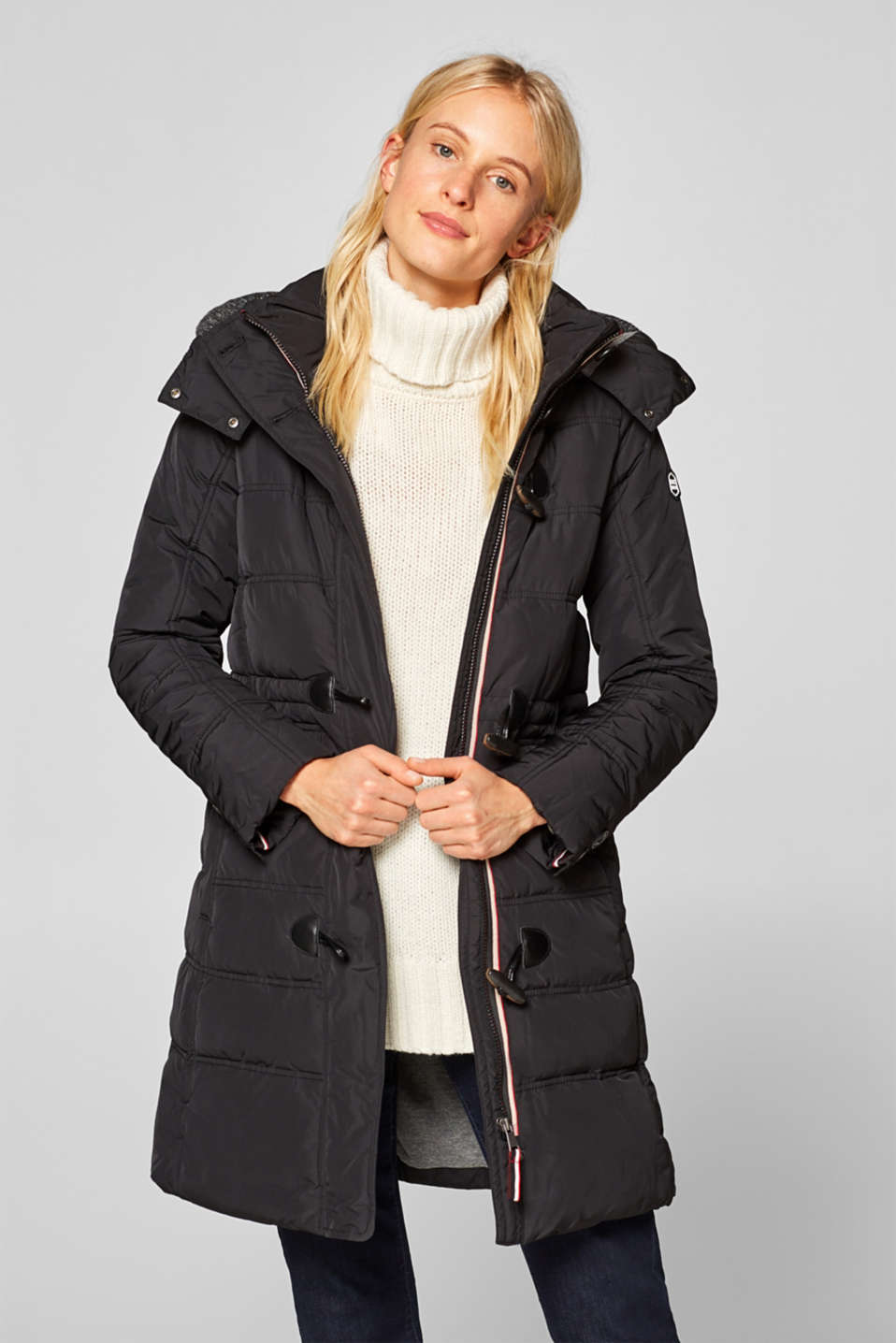 edc - Quilted coat with an adjustable hood