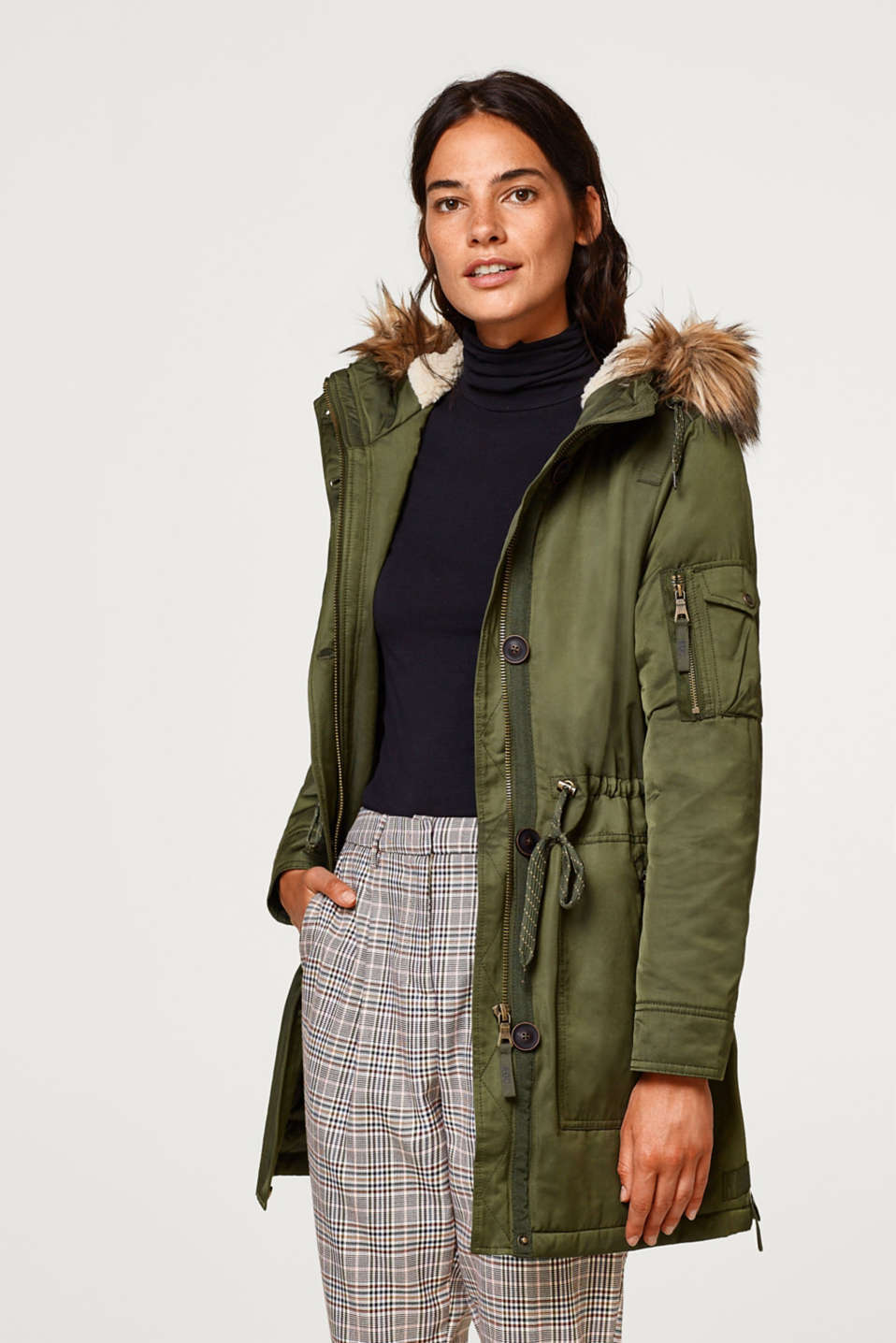 edc - Parka with woven faux fur and plush lining