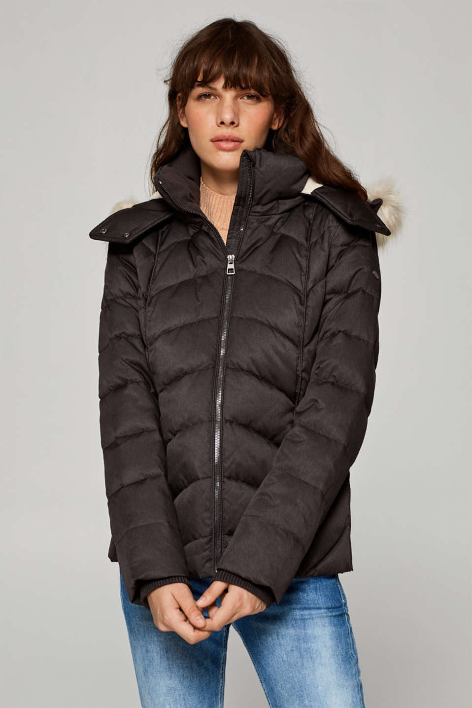 edc - Down jacket with a faux fur hood