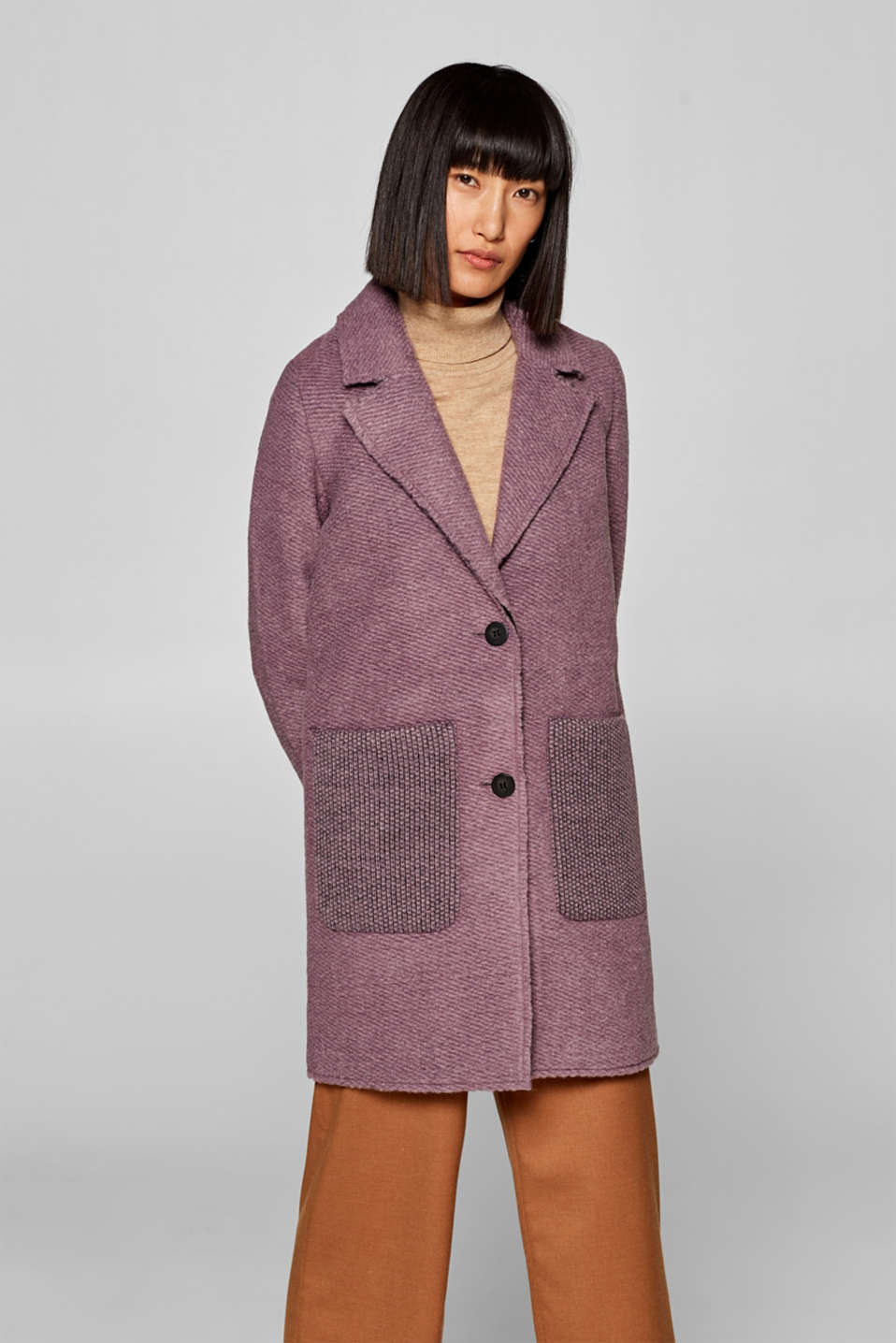 edc - Textured blazer coat containing wool